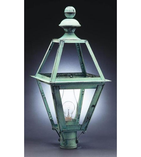 Northeast Lantern 1023-VG-CIM-CLR Boston 1 Light 26 inch Verdi Gris Post Lantern in Clear Glass, Chimney, Medium photo